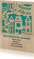Mooie verhuiskaart met de suggestie van gestanste huisjes