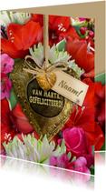 Mooie verjaardagskaart met Amaryllis en koper hart
