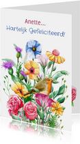 Mooie verjaardagskaart met diverse bloemen