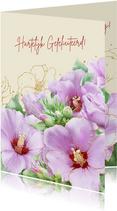 Mooie verjaardagskaart met Hibiscus-bloemen