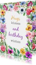 Mooie verjaardagskaart met kleurige bloemen voor tiener