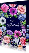 Mooie verjaardagskaart met rozen en diverse andere bloemen