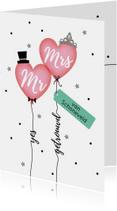 Mr & Mrs getrouwd felicitatie kaart