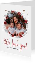 Muttertagskarte Blumenkranz, Foto und Herzchen
