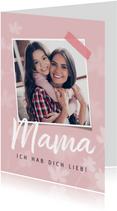 Muttertagskarte stilvoll Foto und Blumen