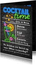 Neon uitnodiging - cocktail time