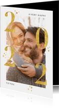 Neujahrskarte Foto, goldene 2022 und Sterne