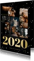 Neujahrskarte Fotocollage mit großer 2020 & Sternen