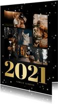 Neujahrskarte Fotocollage mit großer 2021 & Sternen