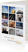 Neujahrskarte Fotocollage Text in Goldlook