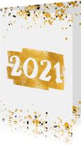 Neujahrskarte goldene Fläche mit 2021 und Konfetti