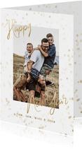 Neujahrskarte goldene Sterne, Foto und happy new year