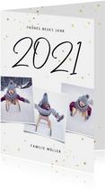 Neujahrskarte handgeschriebene 2021, Fotos und Sterne