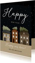 Neujahrskarte 'Happy new Home' Häuserreihe