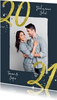 Neujahrskarte mit Foto, Glitzer und 2021