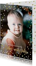 Neujahrskarte mit Fotos und Konfetti