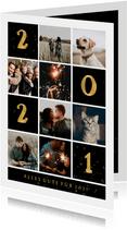 Neujahrskarte mit kleinen Fächern, Fotos und goldener 2021