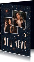 Neujahrskarte mit Mond, Sternen, Feuerwerk & Fotos