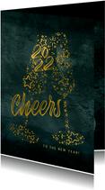 Neujahrskarte mit Sektgläsern und Jahreszahl