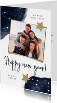 Neujahrskarte mit Wasserfarbe, Foto und Sternen