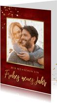 Neujahrskarte rot mit Foto und Goldakzenten