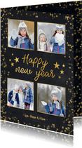 Neujahrskarte schwarz, Konfetti und Fotocollage