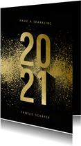 Neujahrskarte sparkling 2021 Goldlook