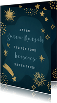 Neujahrskarte Sterne & Feuerwerk