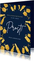 Neujahrskarte Umtrunk Prost Gläser