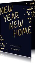 Neujahrskarte zum Umzug goldene Schrift