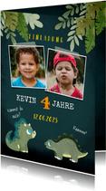 Niedliche Einladung zum Kindergeburtstag mit Dinos und Fotos