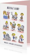 Nieuwe baankaart met meisje op haar werk in stripverhaaltje