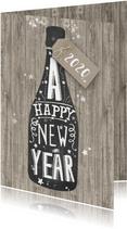 Nieuwjaar champagne krijtbord