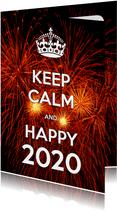 Nieuwjaarskaart Keep Calm and Happy 2020