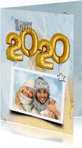 Nieuwjaar trendy 2020 ballon goud blauw marmer