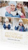 Nieuwjaars fotocollage kaart met 3 foto's