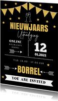 Nieuwjaarsborrel online uitnodiging typografie goudlook