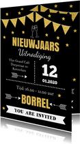 Nieuwjaarsborrel uitnodiging typografie vlaggetjes goudlook