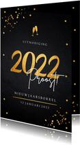 Nieuwjaarsborrel uitnodiging zwart confetti goudlook