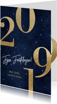 Nieuwjaarskaart 2019 goud en donker blauw