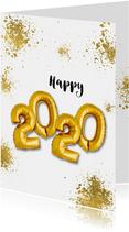 Nieuwjaarskaarten - Nieuwjaarskaart 2020 goudspetters en ballonnen