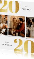 Nieuwjaarskaart 2020 best wishes goudlook met 3 foto's
