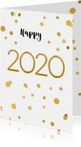 Nieuwjaarskaart 2020 confetti goud