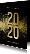 Nieuwjaarskaart 2020 goudlook met spetters