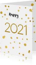 Nieuwjaarskaart 2021 confetti goud