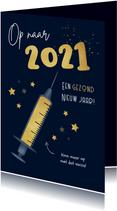 Nieuwjaarskaart 2021 corona vaccin sterren gezond goud