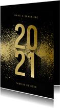 Nieuwjaarskaart 2021 goudlook met spetters