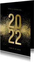 Nieuwjaarskaart 2022 goudlook met spetters