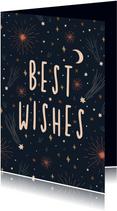 Nieuwjaarskaart best wishes met vuurwerk en sterren