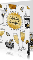Nieuwjaarskaart champagne goud